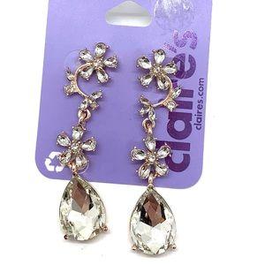 5/$25 Clear stone flower drop dangle earrings